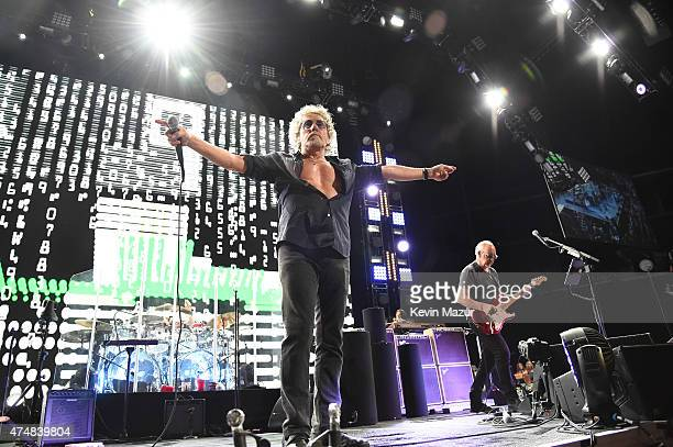 Roger Daltrey and Pete Townshend of The Who perform during their Hits 50 North American tour at Barclays Center of Brooklyn on May 26 2015 in New...