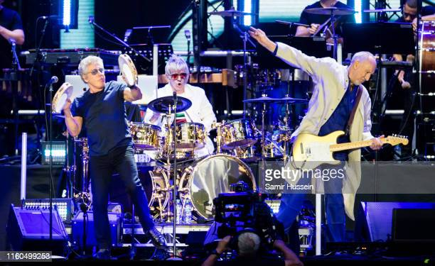 Roger Daltrey and Pete Townshend of The Who perform live on stage at Wembley Stadium on July 06, 2019 in London, England.