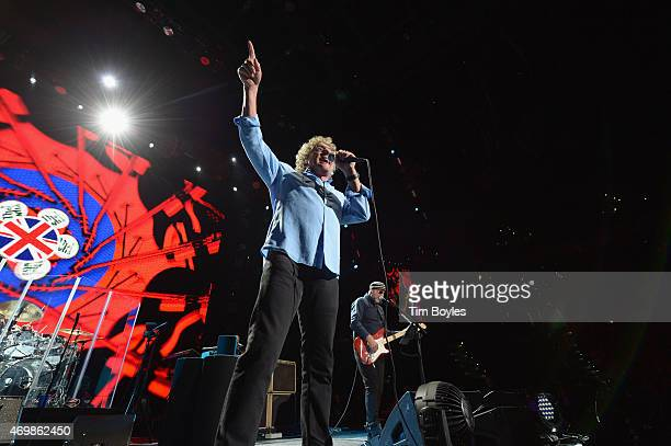 """Roger Daltrey and Pete Townshend of the Who perform on the opening night of their """"The Who Hits 50"""" tour at Amalie Arena on April 15, 2015 in Tampa,..."""