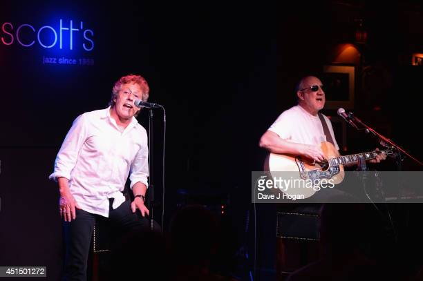 Roger Daltrey and Pete Townshend of The Who perform onstage as he attends The 50th Anniversary Photocall of The Who at Ronnie Scott's on June 30 2014...