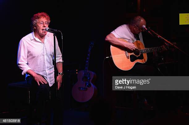 Roger Daltrey and Pete Townshend of The Who perform onstage as they attend The 50th Anniversary Photocall of The Who at Ronnie Scott's on June 30...