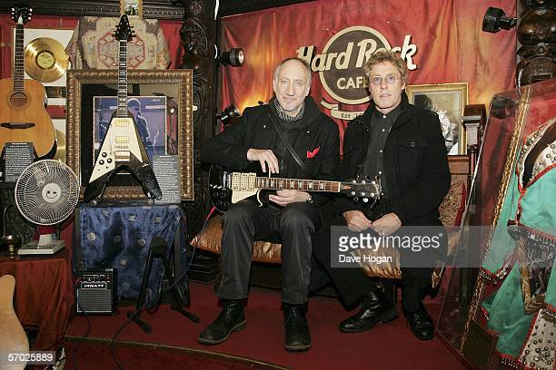 Roger Daltrey and Pete Townshend of The Who pose in the vaults of The Hard Rock Cafe after a presscall to announce new concert dates at Hard Rock...