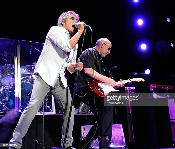 Roger Daltrey and Pete Townshend perform at Nassau Coliseum, Long Island on February 21, 2013 in New York City.