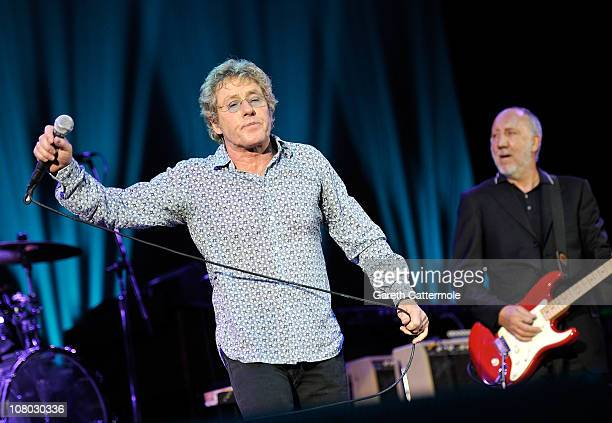 Roger Daltrey and Pete Townshend perform onstage during 'A Concert For Killing Cancer' at Hammersmith Apollo on January 13, 2011 in London, England.