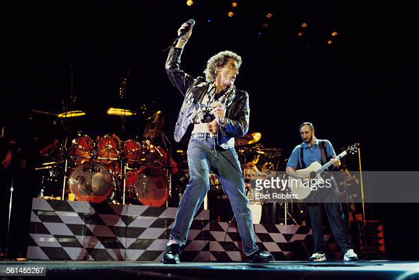 Roger Daltrey and Pete Townshend performing with The Who in Buffalo New York on July 18 1989