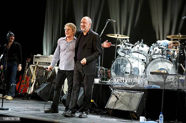 Roger Daltrey and Pete Townshend performs during 'A Concert For Killing Cancer' at Hammersmith Apollo on January 13, 2011 in London, England.