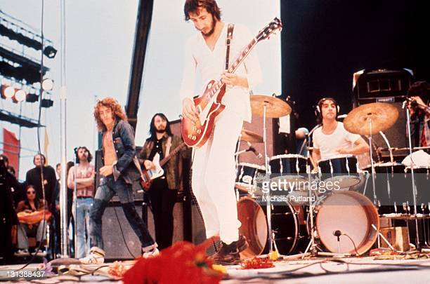 Roger Daltrey John Entwistle Pete Townshend and Keith Moon of The Who perform on stage at the Fete de l'Humanite music festival Paris 9th September...