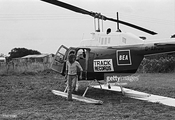 Roger Daltrey lead singer of English rock band The Who arrives at the Isle of Wight Festival in Wootton in a Track Records helicopter 30th/31st...