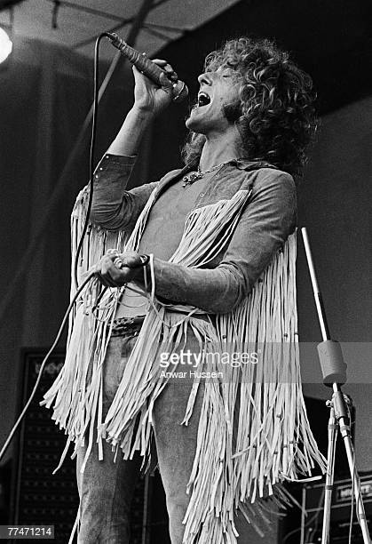 Roger Daltrey lead singer of English rock band The Who on stage at the Isle of Wight Festival in Wootton 30th/31st August 1969