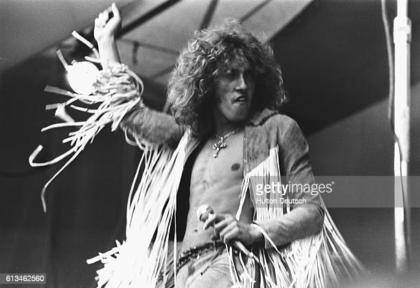 Roger Daltrey lead singer of The Who performing on stage at the Isle of Wight Festival in August 1969 The group also appeared with Bob Dylan on this...
