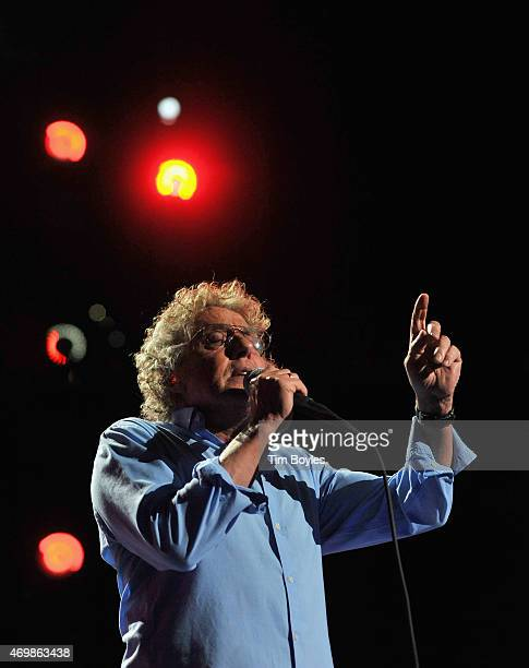 """Roger Daltrey of the Who perform on the opening night of their """"The Who Hits 50"""" tour at Amalie Arena on April 15, 2015 in Tampa, Florida."""