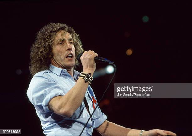 Roger Daltrey of The Who performing on stage during the Freddie Mercury Tribute Concert for Aids Awareness at Wembley Stadium in London on the 20th...