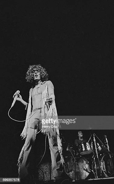 Roger Daltrey of The Who performs at the free Woodstock Music and Art Fair The festival took place on Max Yasgur's dairy farm which he rented to...