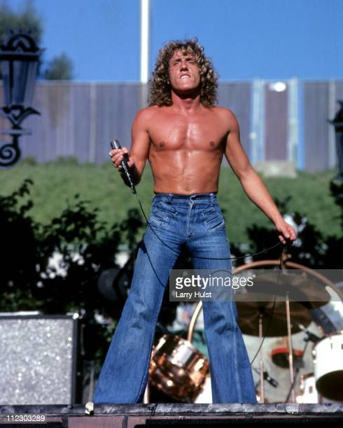 Roger Daltrey of the Who performs at the Oakland Coliseum in Oakland California on October 9 1976