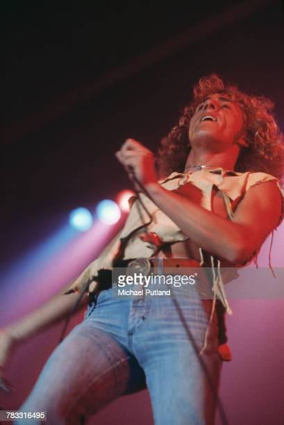 Roger Daltrey of The Who performs live on stage with the band at Wembley Empire Pool in London in October 1975