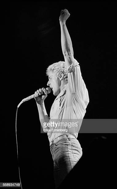Roger Daltrey of The Who performs on stage, NEC, Birmingham, United Kingdom, 1982.