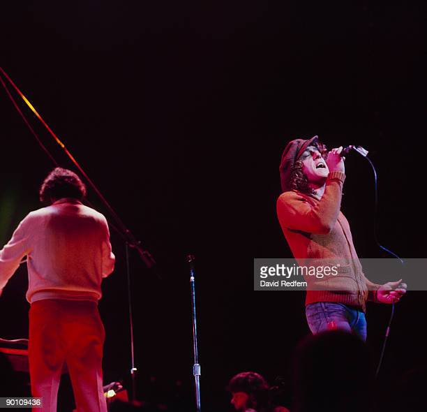 Roger Daltrey of The Who performs on stage with conductor David Measham during a soundcheck for Tommy at the Roundhouse in London England on December...