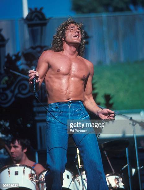 Roger Daltrey performs with The Who at Oakland Stadium in October 1976 in Oakland California
