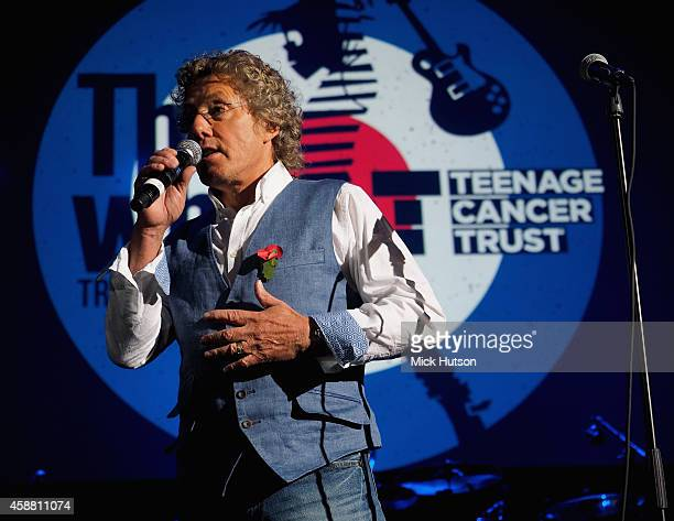 Roger Daltrey speaks on stage as part of an evening of The Who music in aid of Teenage Cancer Trust, at O2 Shepherd's Bush Empire on November 11,...