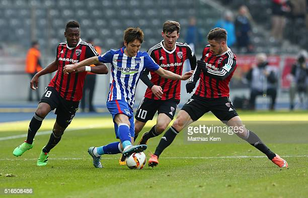 Roger De Oliveira Bernando Genki Haraguchi Pascal Gross and Mathew Leckie battle for the ball during the Bundesliga match between Hertha BSC and FC...