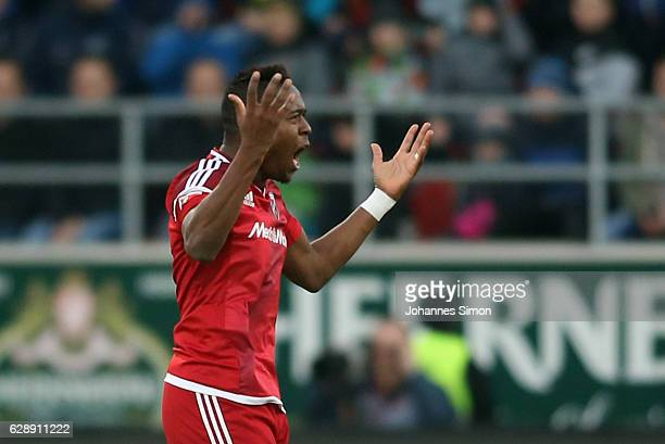Roger de Oliveira Bernardo of Ingolstadt celebrates after scoring his team's first goal during the Bundesliga match between FC Ingolstadt 04 and RB...