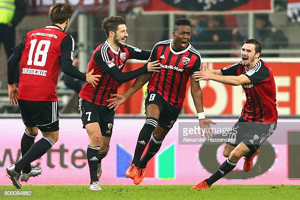 Roger de Oliveira Bernardo of Ingolstadt elebrates scoring the opening goal with his team mates Pascal Gross Mathew Lecki and Romain Bregerie during...