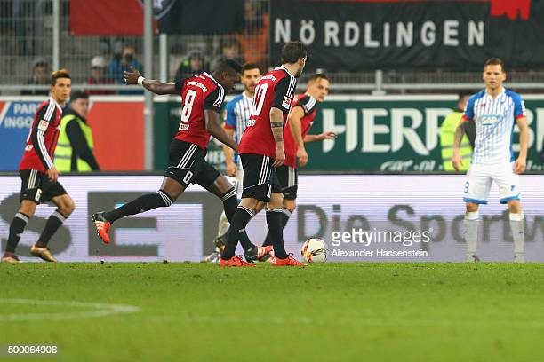 Roger de Oliveira Bernardo of Ingolstadt scores the opening goal with a penalty during the Bundesliga match between FC Ingolstadt and TSG 1899...