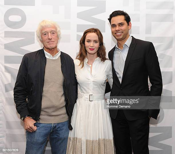 Roger Deakins Emily Blunt and MoMA Chief Curator of Film Rajendra Roy attend Sicario New york Screening at Museum of Modern Art on December 15 2015...