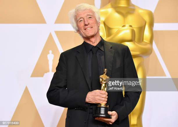 Roger Deakins winner of the Best Cinematography for Blade Runner poses in the press room during the 90th Annual Academy Awards at Hollywood Highland...
