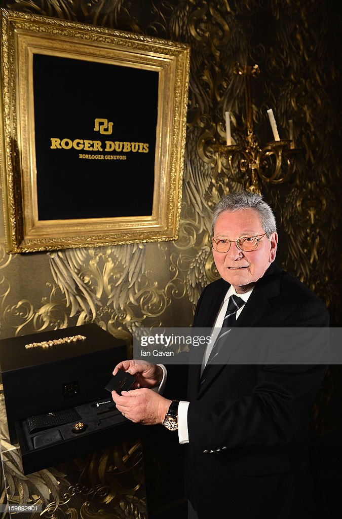 Roger Dubuis, brand ambassador of Roger Dubuis visits the Roger Dubuis booth during the 23rd Salon International de la Haute Horlogerie at the Geneva Palexpo on January 21, 2013 in Geneva, Switzerland.