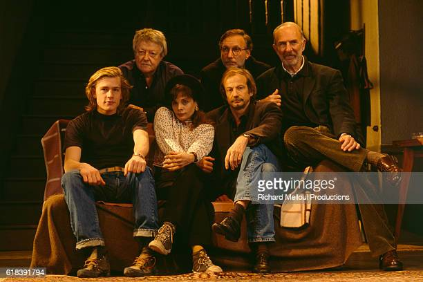 Roger Dumas, Francois Berleand, and Jean-Pierre Marielle, Guillaume Depardieu, Marie Trintignant, and Patrick Chenais performing Le Retour by Harold...
