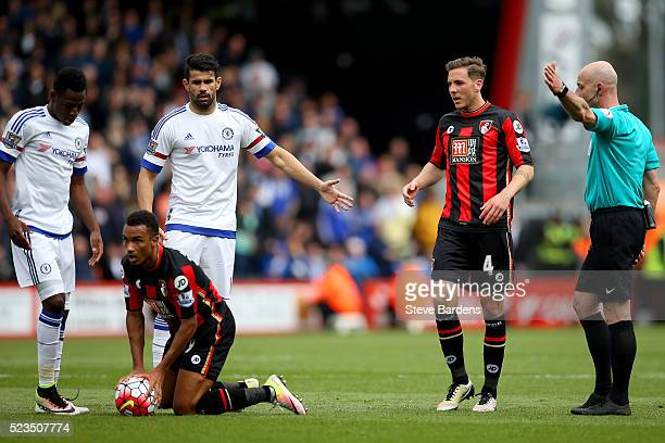 Roger East makes a decision during the Barclays Premier League match between AFC Bournemouth and Chelsea at the Vitality Stadium on April 23 2016 in...