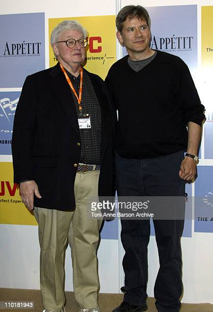 Roger Ebert and Campbell Scott during 2003 Cannes Film Festival American Pavilion Ribbon Cutting at American Pavilion in Cannes France