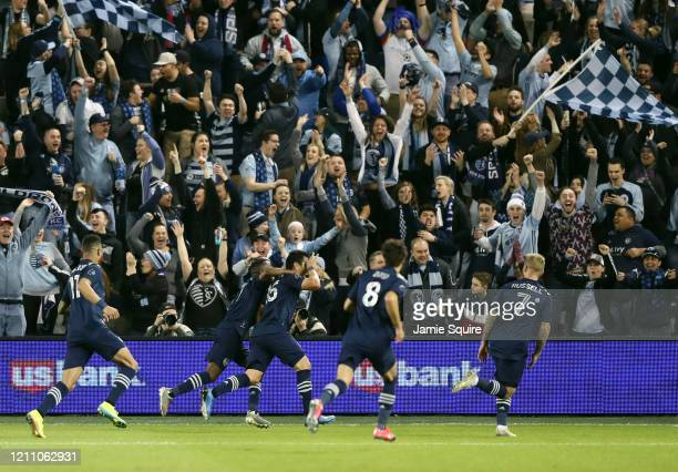 Roger Espinoza of Sporting Kansas City celebrates after scoring during the 1st half of the game against the Houston Dynamo at Children's Mercy Park...