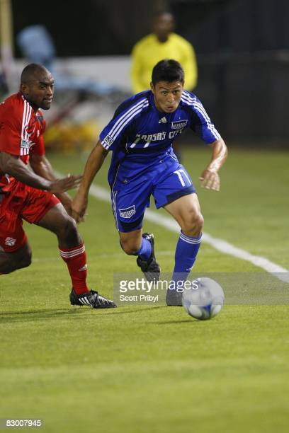 Roger Espinoza of the Kansas City Wizards dribbles the ball against Toronto FC during the game at Community America Ballpark on September 20 2008 in...