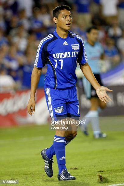 Roger Espinoza of the Kansas City Wizards looks for a call against FC Dallas during the game at Community America Ballpark on August 23, 2008 in...