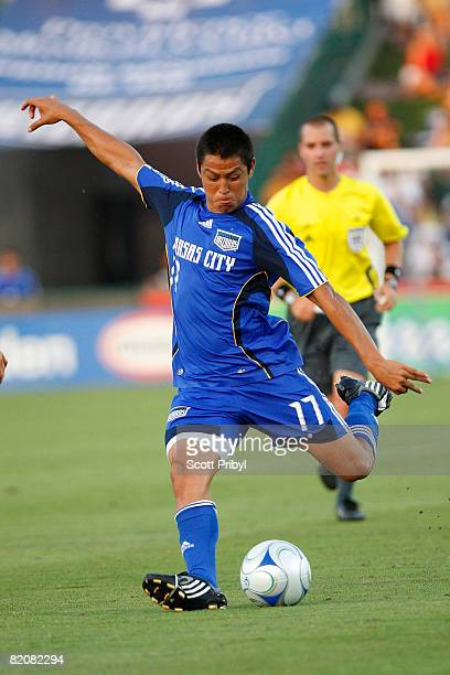 Roger Espinoza of the Kansas City Wizards shoots the ball against the Chicago Fire during the game at Community America Ballpark on July 27, 2008 in...