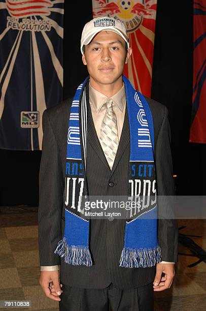 Roger Espinoza poses for photo after being selected 11th by Kansas City Wizards in the MLS Super Draft on January 18 2008 at the Baltimore Convention...