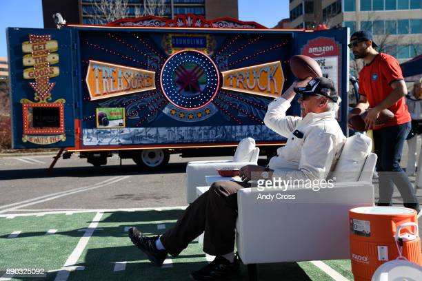 Roger Faubion tries his armchair quarterback skills at the Amazon's Treasure Truck parked at the Cherry Creek Mall Saturday December 09 2017 The...