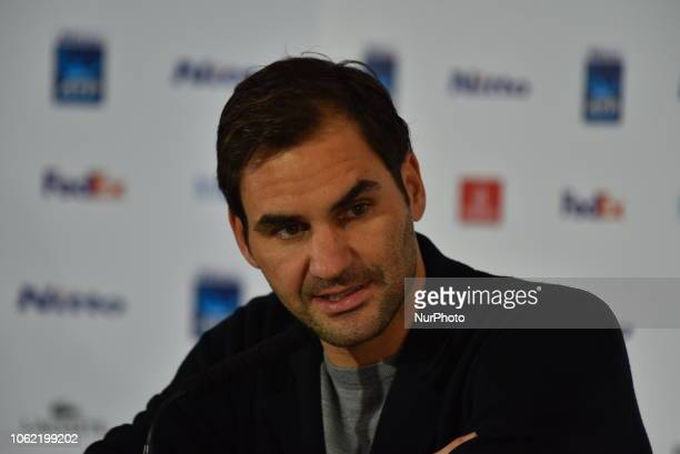 Roger Feder of Switzerland attends the press conference, on day 5 of the Nitto ATP World Tour FInals at the O2 Arena on November 15, 2018 in London,...