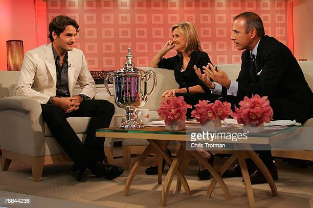 "Roger Federer, 2007 US Open Champion, chats with hosts Meredith Vieira, and Matt Lauer on NBC's ""Today"" show on September 10, 2007 in New York City."