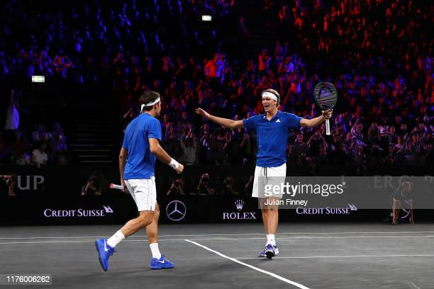 Roger Federer and Alexander Zverev of Team Europe celebrate match point during their doubles match against Jack Sock and Denis Shapovalov of Team...