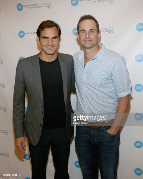 Roger Federer and Andy Roddick attend the Roger Federer Comes To Austin event benefitting the Andy Roddick Foundation at the Paramount Theatre on...