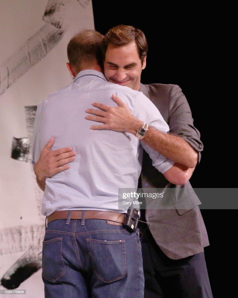 Roger Comes To Austin: A Conversation With Andy Roddick And Roger Federer : News Photo
