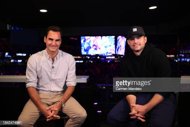 Roger Federer and Andy Roddick pose on Day 2 of the 2021 Laver Cup at TD Garden on September 25, 2021 in Boston, Massachusetts.