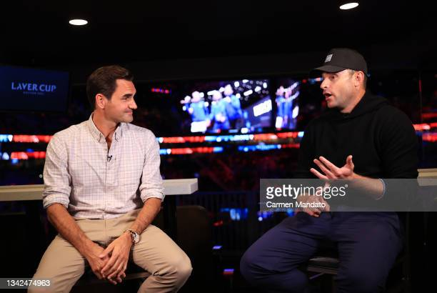 Roger Federer and Andy Roddick speak during an interview on Day 2 of the 2021 Laver Cup at TD Garden on September 25, 2021 in Boston, Massachusetts.