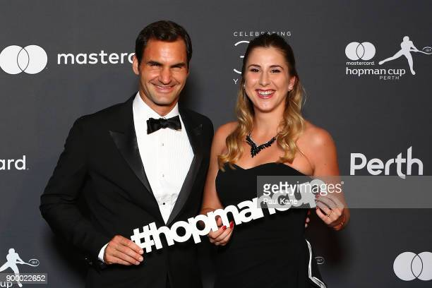 Roger Federer and Belinda Bencic of Switzerland arrive at the 2018 Hopman Cup New Years Eve Ball at Crown Perth on December 31 2017 in Perth Australia