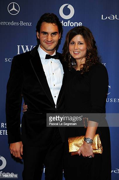 Roger Federer and girlfriend Mirka Vavrinec attend the Laureus World Sports Awards at the Mariinsky Concert Hall on February 18, 2008 in...