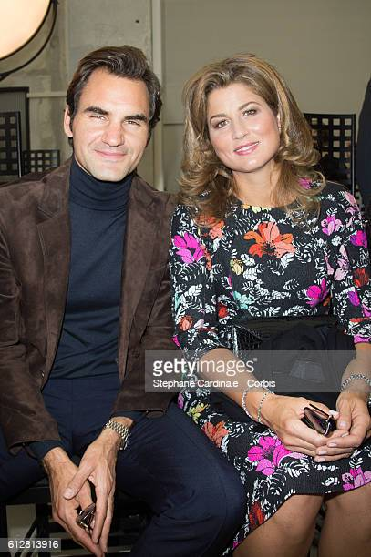 Roger Federer and his wife Mirka attend the Louis Vuitton show as part of the Paris Fashion Week Womenswear Spring/Summer 2017on October 5 2016 in...