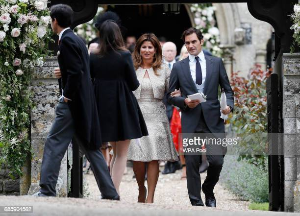 Roger Federer and his wife Mirka leave after the wedding of Pippa Middleton and James Matthews at St Mark's Church on May 20 2017 in Englefield...